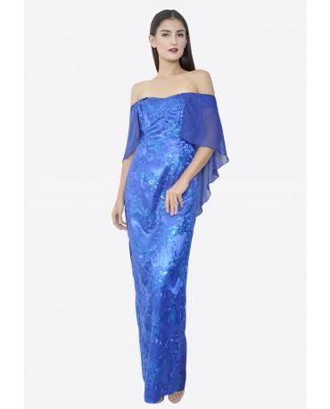 22BC Off Shoulder Flutter Sleeve Long Dress BC18050