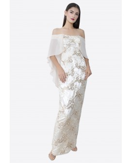22BC Off Shoulder Flutter Sleeve Long Dress BC18050