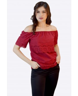 Freeway Eyelet Offshoulder Top FWYTC-028J9